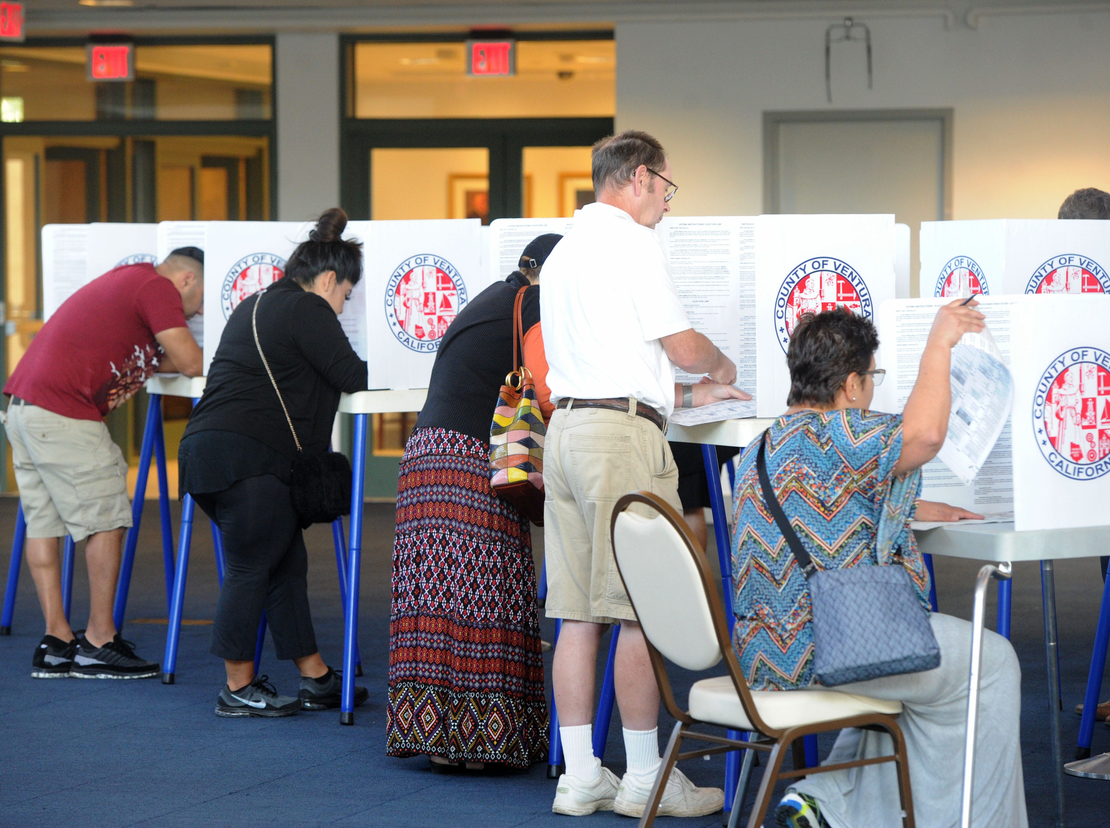 People cast their votes Tuesday at the Ronald Reagan Presidential Library & Museum in Simi Valley.