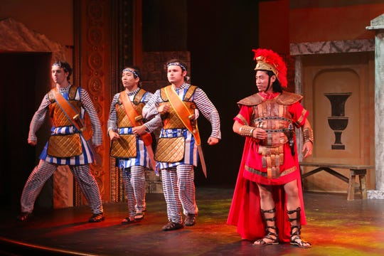 "Jack Cleary, Ezea Eells, Andrew Nunez and Lyndon Apostol in a scene from ""A Funny Thing Happened on the Way to the Forum."""