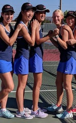 Emma Victor (left to right), Emma Sun, Essence Wang, Rachael Sherrill and Sam Noh all qualified for CIF-SS Individuals while leading the Westlake girls tennis team to the Division 1 semifinals.