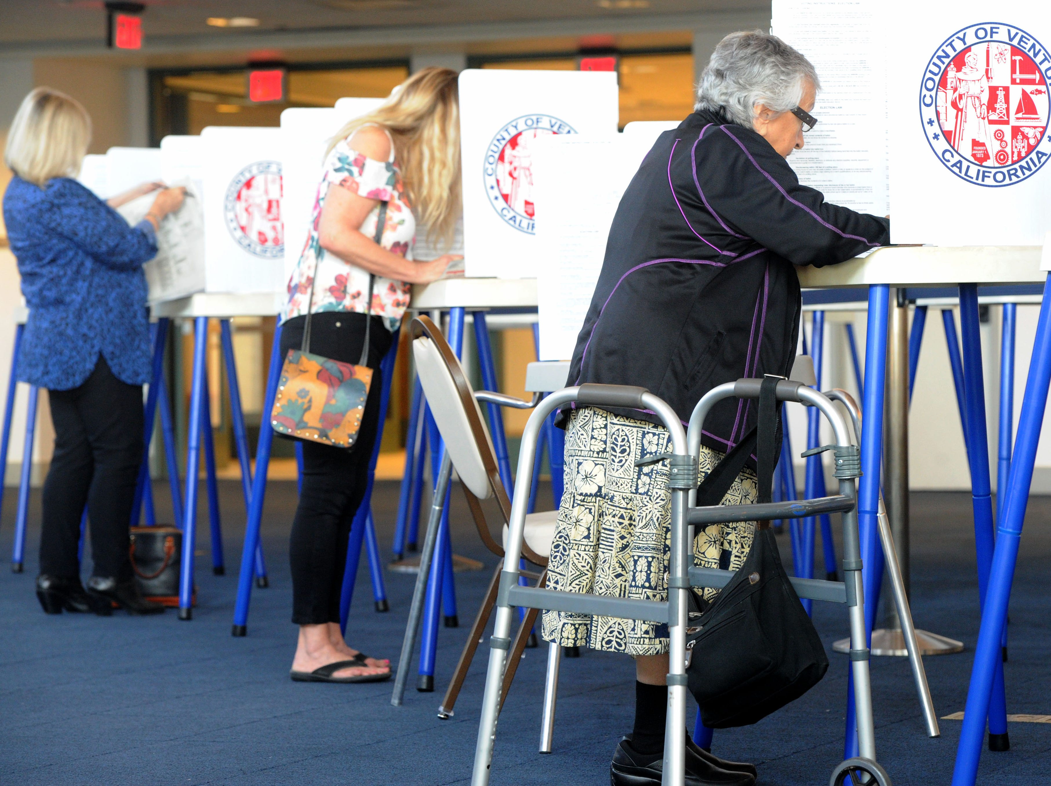 Mary Pavia makes her ballot selections Tuesday at the Ronald Reagan Presidential Library & Museum in Simi Valley.