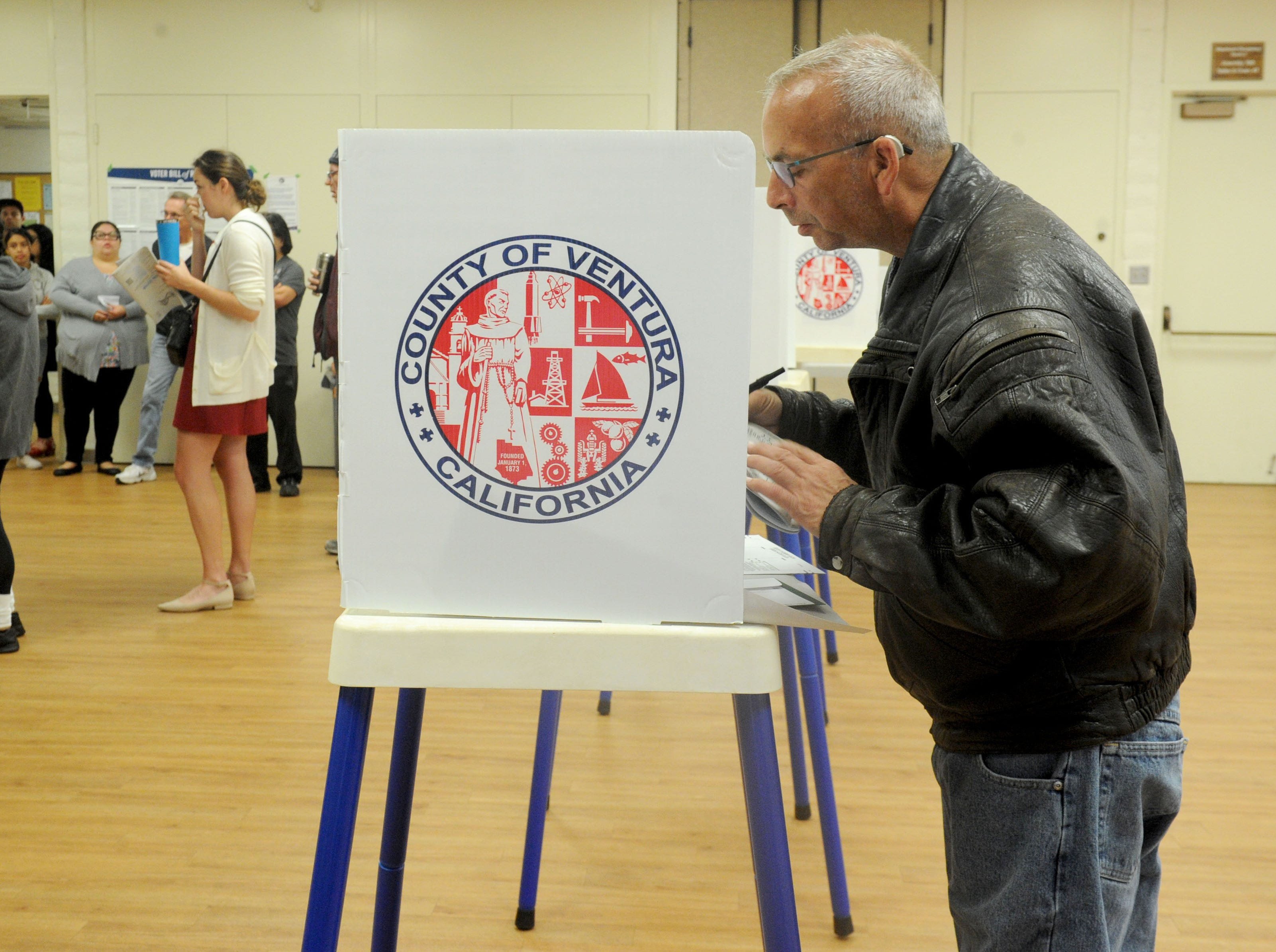 Steven Bienvenu was the first person to vote Tuesday morning at the Ventura Avenue Adult Center in Ventura.