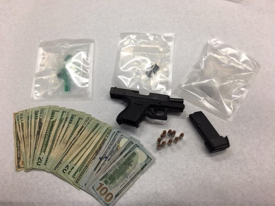 Oxnard police seized a loaded firearm, methamphetamine and cash during an arrest Monday.