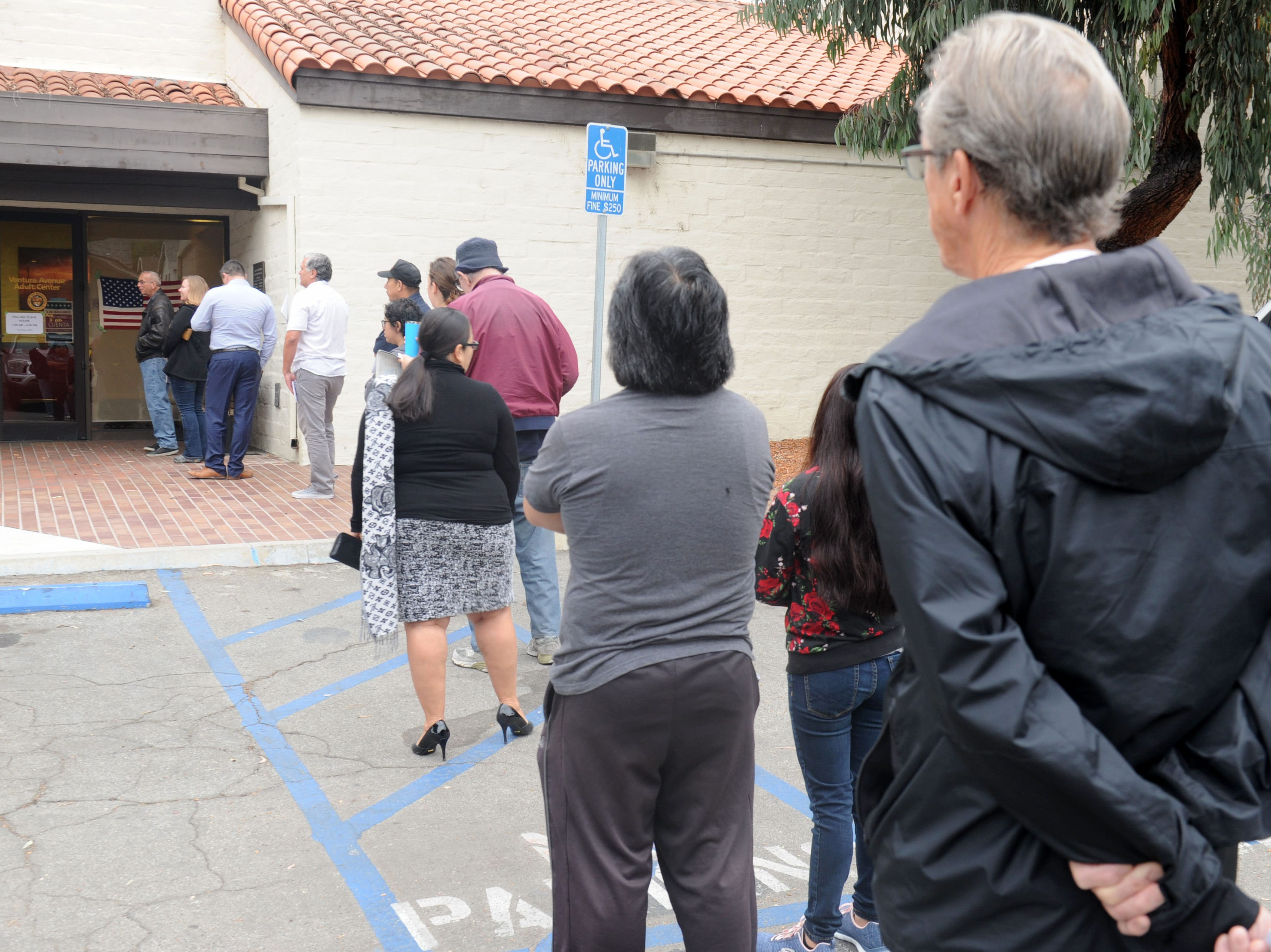 People waiting in line to vote at the Ventura Avenue Adult Center on Tuesday morning.