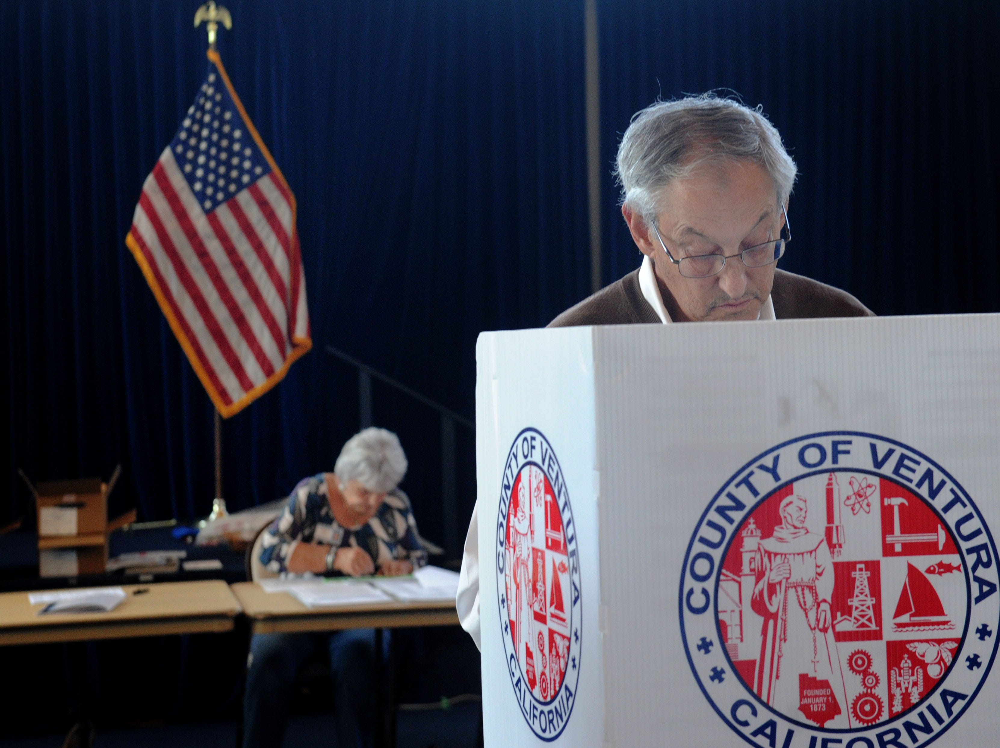 Ed Portnoy votes at the Ronald Reagan Presidential Library & Museum in Simi Valley. The library had a steady stream of voters.