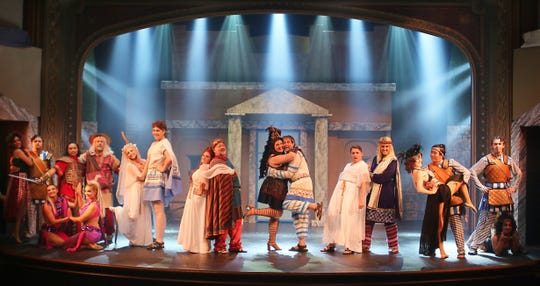 "The cast performs in ""A Funny Thing Happened on the Way to the Forum."""