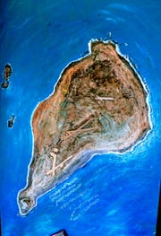 This relief map that Dick Dodd made of Iwo Jima is on display in the Veterans Home of California, Ventura.
