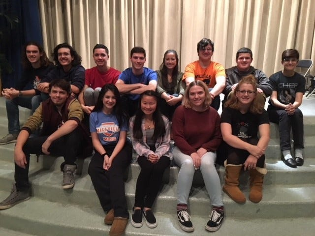 "Cast members for Millville High School's Fine and Performing Arts Department's Dessert Theater production of ""The Complete History of Theater: Abridged"" are busy with the final rehearsals for the show which opens Nov. 15."