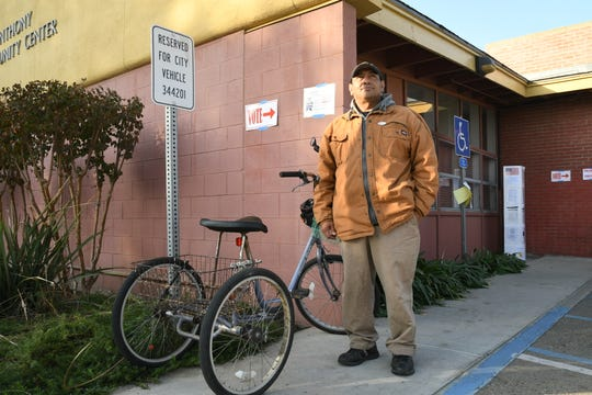 "Voter Steven Zamora says the pleasant weather makes it ""a perfect day to ride a bike and exercise democracy"" at the Anthony Community Center precinct in Downtown Visalia."