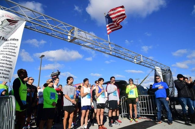 Runners and walkers line up for the inaugural Beau Biden Foundation Run/Walk for Child Protection last fall. The race returns to Wilmington's Riverfront Sunday morning.