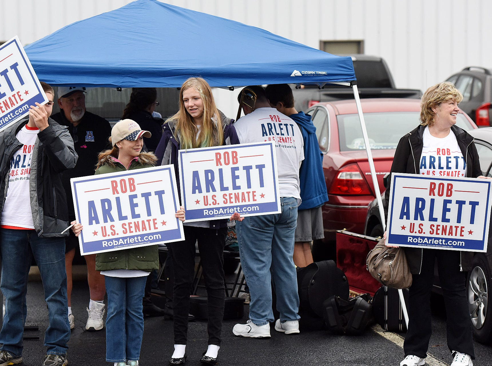 U.S Senate Candidate Rob Arlett supporters at the Roxana Fire Station on Election Day. Voter turnout in eastern Sussex County has been steady at polling places in Rehoboth, Roxana and Angola.