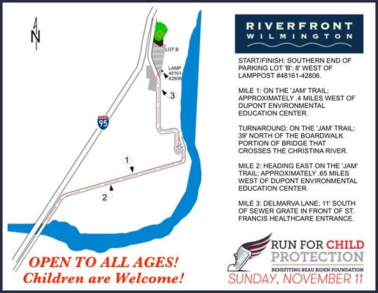 The new course for Sunday's Beau Biden Foundation run/walk in Wilmington.