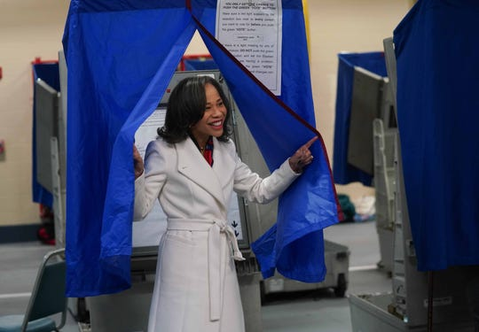 Rep. Lisa Blunt-Rochester emerges from a voting booth the Brandywine Hundred Fire Company after casting her midterm votes  on Tuesday.