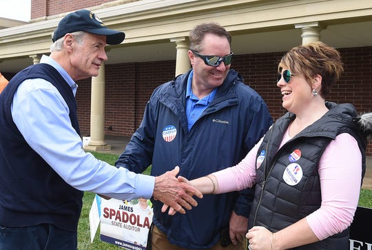 U.S. Sen. Tom Carper greets voters at Cape Henlopen High School near Lewes as turnout in eastern Sussex County has been steady at polling place.