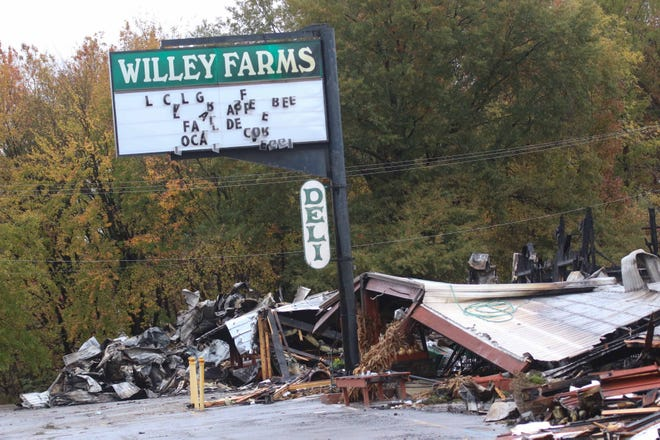 A day after a devastating fire destroyed popular Townsend Willey Farms, family members and staff look through the rubble for heirlooms and answers to why the fire broke out.