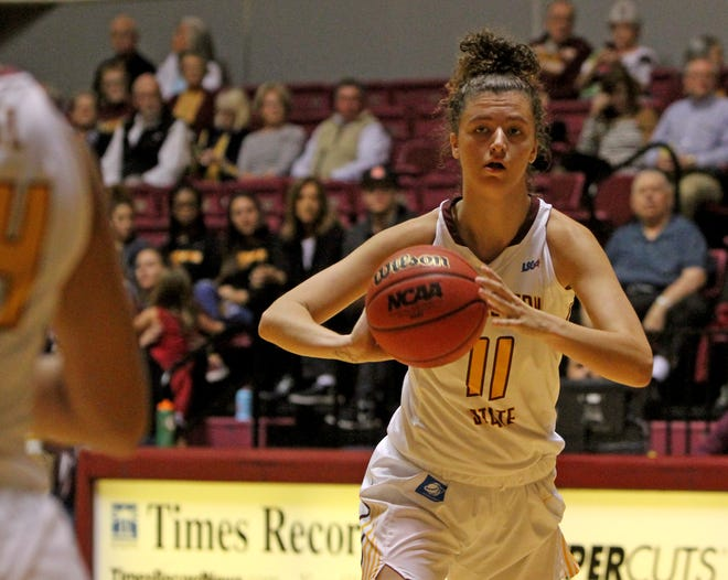 Midwestern State's Hannah Reynolds had a double-double in Thursday's loss to Texas A&M-Kingsville.