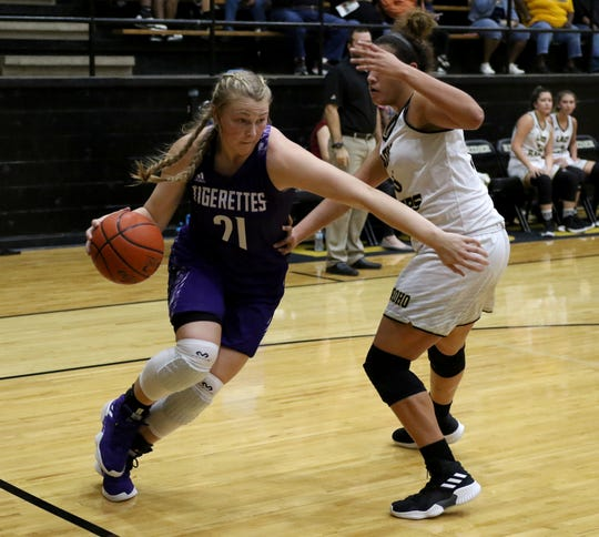 Jacksboro's Baylee Thompson drives to the basket in the game against Rider Monday, Nov. 5, 2018, at Rider.
