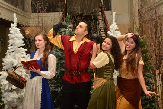 "Belle (Amanda Jackson), Gaston (Landon Cantrell) and the silly girls (Summer Crain and Sarah Rivers) in ""Beauty and the Beast"" at the Wichita Theatre. The production continues Dec. 7-15 on Fridays and Saturdays at 7:30 p.m., and Saturday matinee performances at 2 p.m."