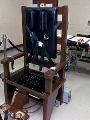 Tennessee's electric chair in the execution room Oct. 13, 1999, at Riverbend Maximum Security Institution in Nashville.