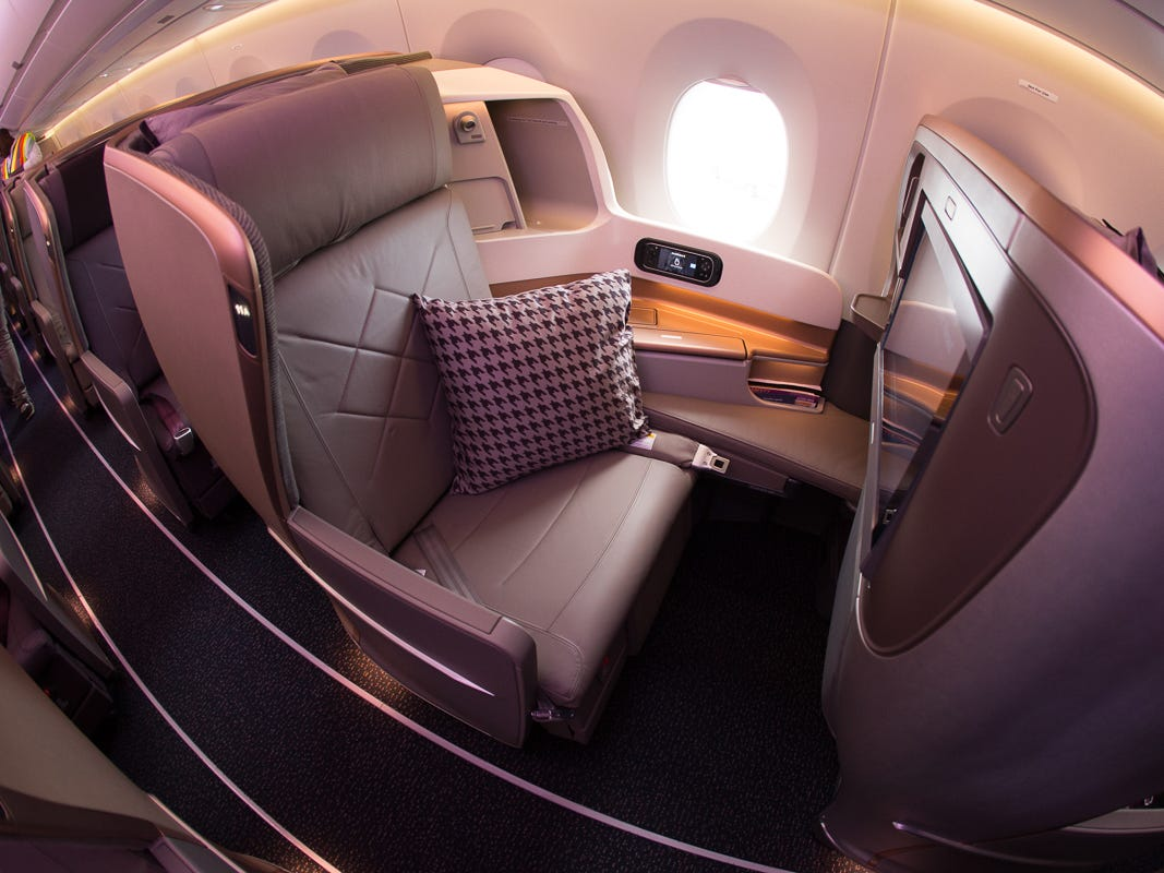 Singapore Airlines' business-class seat, seen aboard its Airbus A350-900ULR jet in Newark, New Jersey, on Oct. 12, 2018.