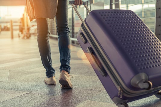Traveler With Suitcase In Airport Concept Young Girl Walking With Carrying Luggage And Passenger For Tour Travel Booking Ticket Flight At International Vacation Time In Holiday Rest And Relaxation