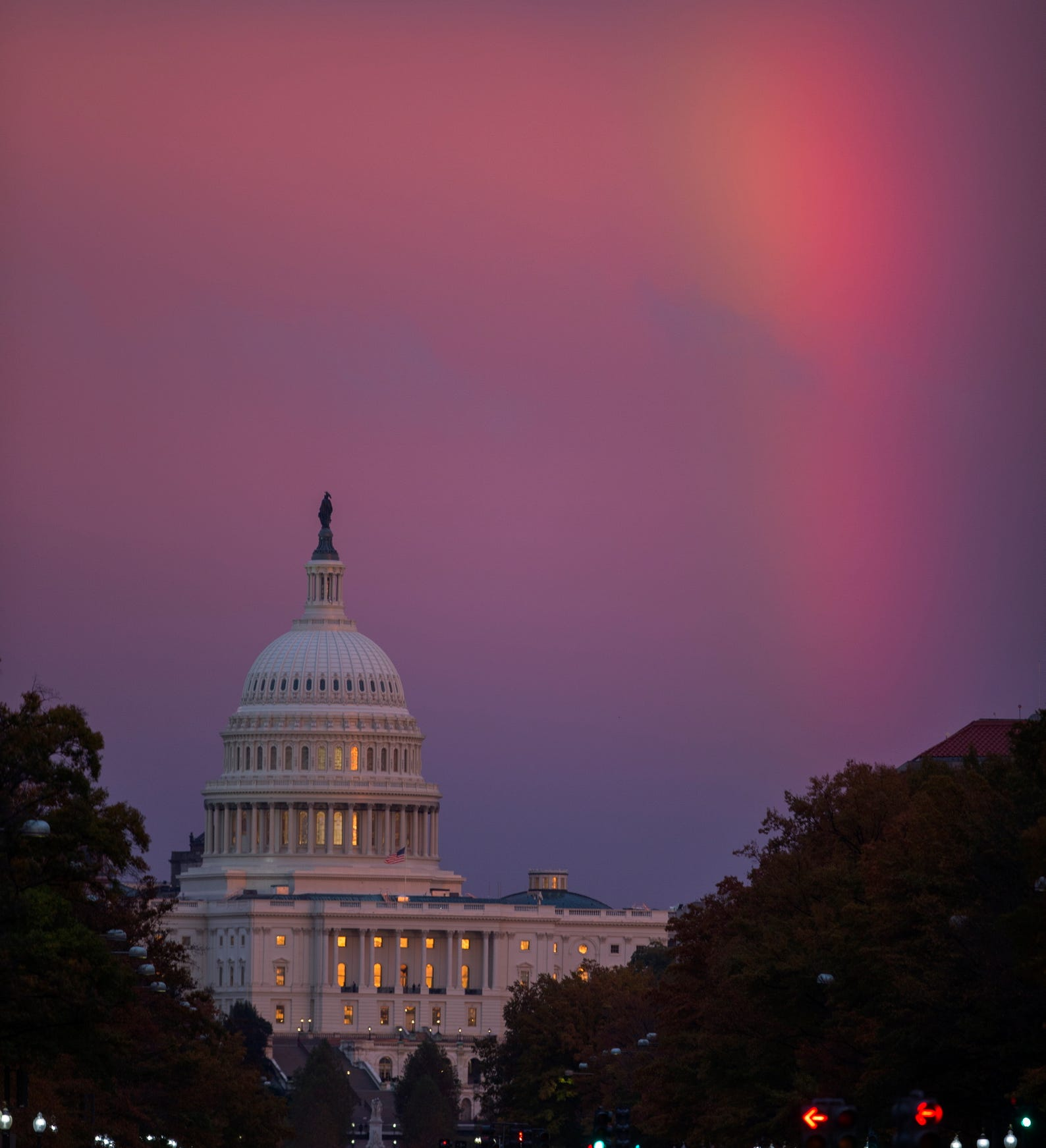A rainbow appears near the U.S. Capitol in Washington, D.C., as the first polls close in the 2018 midterm elections on November 6, 2018.