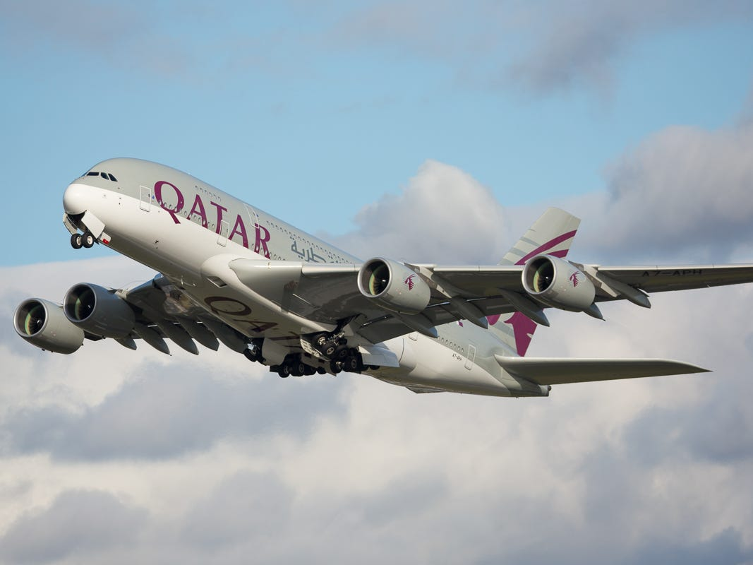 A Qatar Airways Airbus A380 takes off from London Heathrow on Oct. 2, 2018.