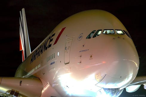 An Air France A380 is seen at Denver International Airport after it diverted there on Nov. 4, 2018.