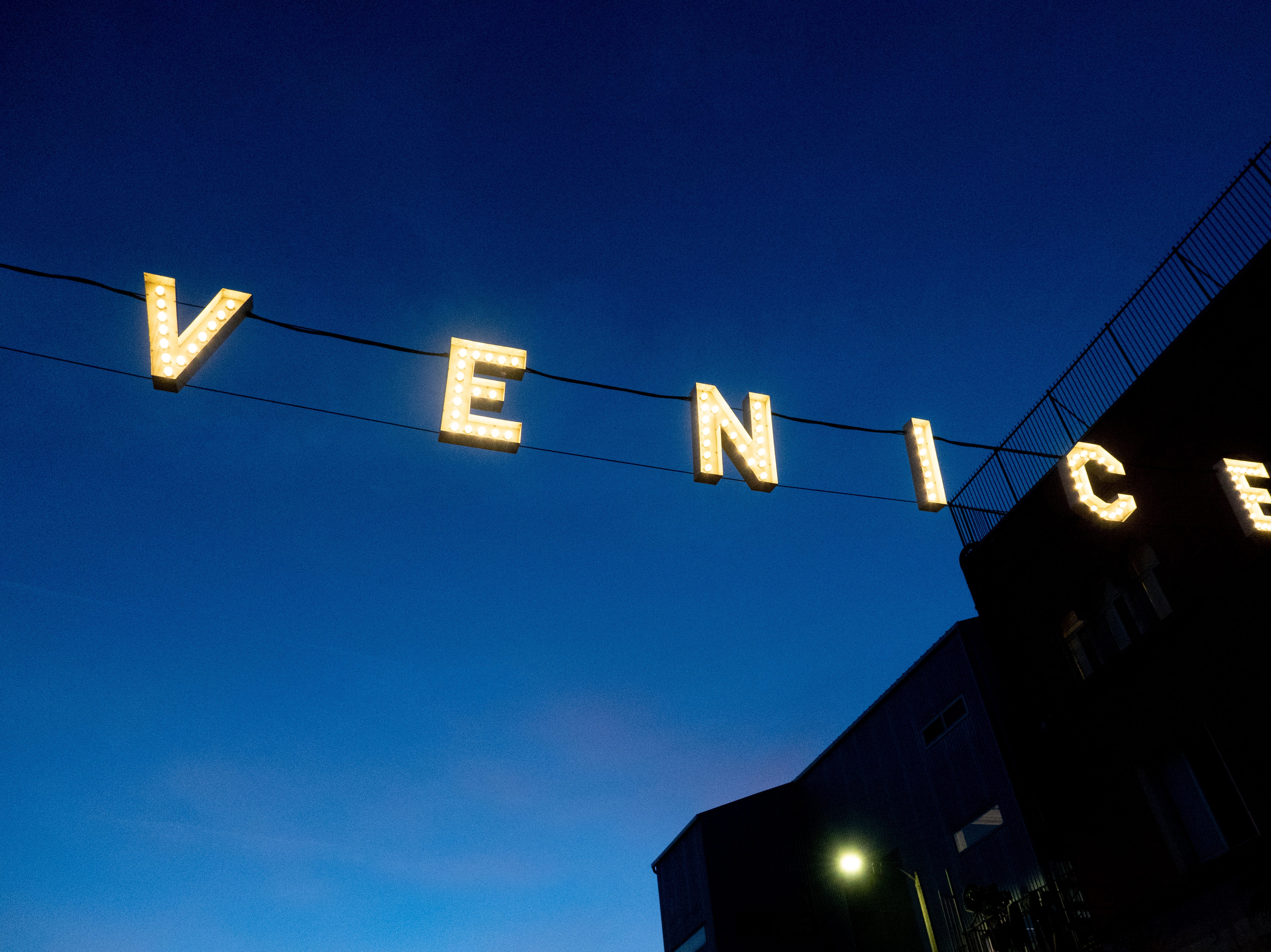 The Venice sign in Venice Beach, California.