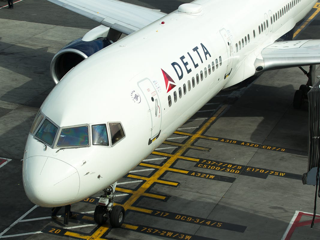 A Delta Air LInes 757-200 pulls into a gate at New York's JFK Airport in October 2018.