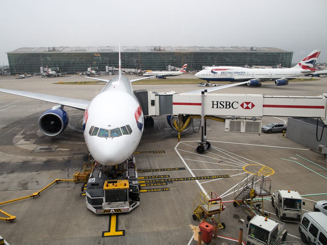 A British Airways Boeing 777 is readied for its next flight abroad at London Heathrow's Terminal 5 in October 2018.