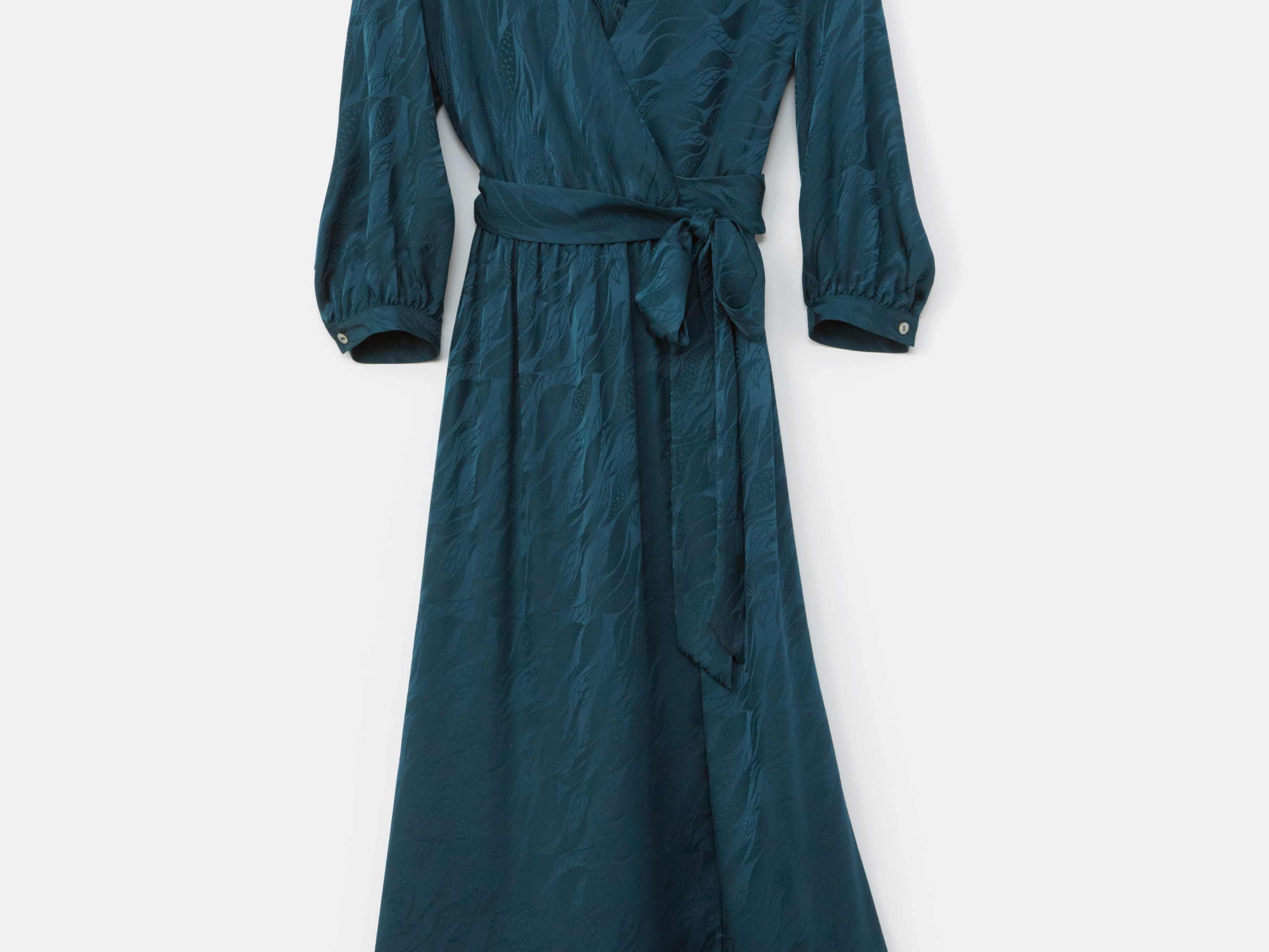 Another fashion brand built around sustainable fashion is Amour Vert. The company says all of the fabric it uses is sustainable and all of their dyes it uses are non-toxic. Here, a wrapped teal dress from the brand's fall line made of sustainably produced Jacquard silk fabric. Price: $278.