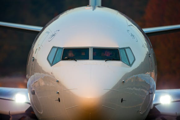 This file photo from October 2018 shows a Boeing 737-800 after it completed a test flight at Seattle's Boeing Field.