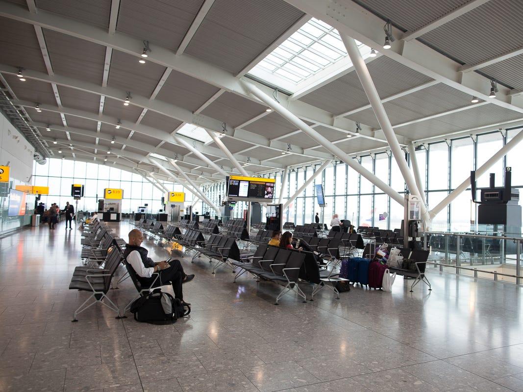 Passengers await their next flight from London Heathrow's Terminal 5 in October 2018.