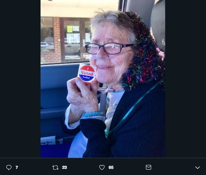 Gracie Lou Phillips, 82, voted for the first time during early voting in Grand Prairie, Texas.