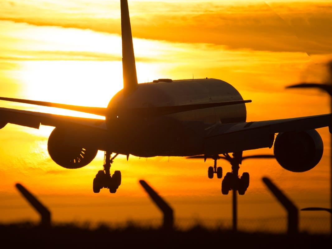 A British Airways Boeing 777-200 lands at London's Heathrow International Airport in October 2018.
