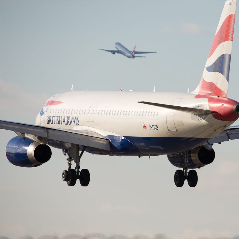 A British Airways Airbus A320 lands at London's Heathrow International Airport in October 2018.