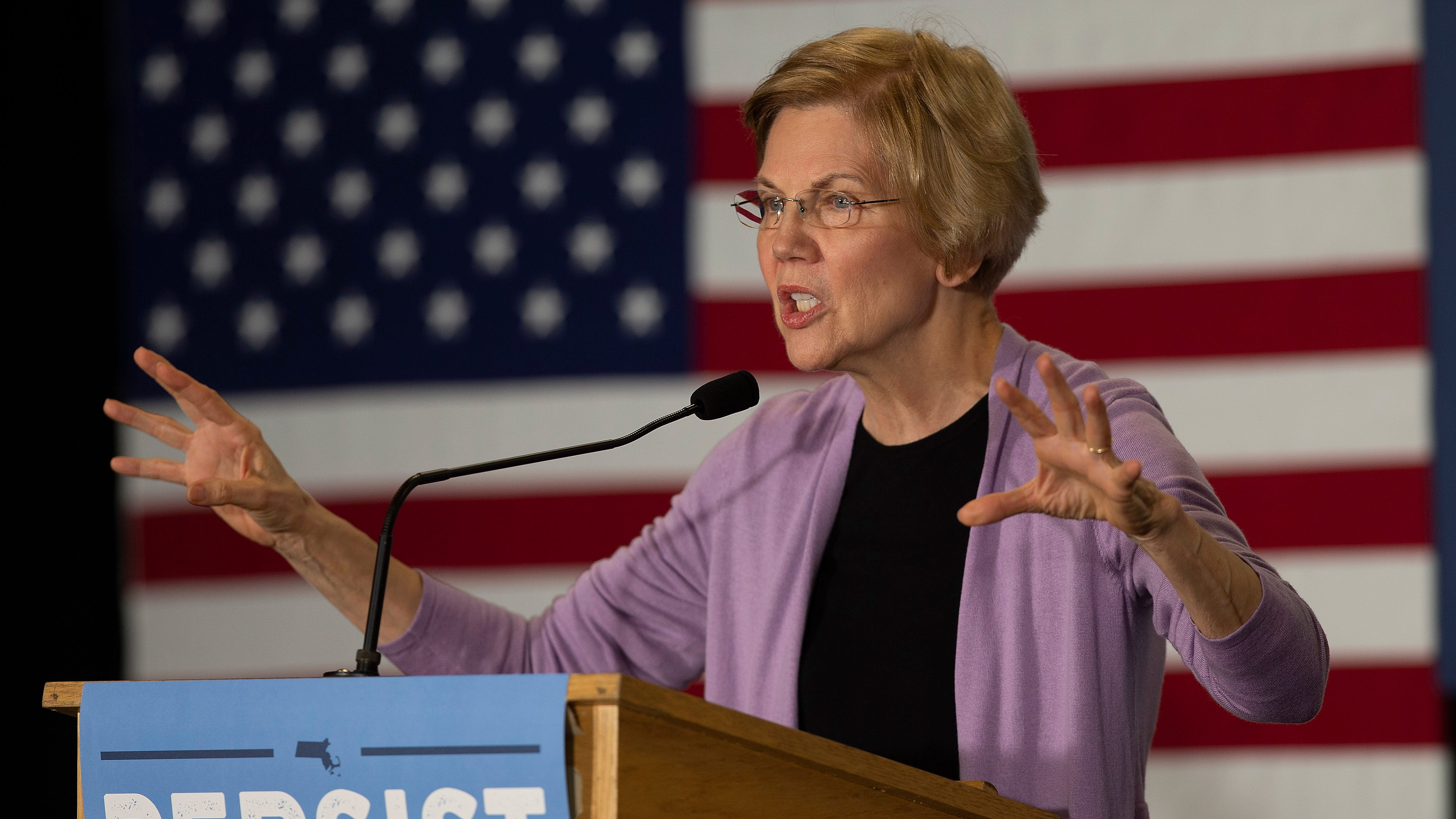 "U.S. Senator Elizabeth Warren campaigns for re-election at an ""Election Eve"" rally held at the Hudson Portuguese Club in Hudson, Mass. on  Nov. 5, 2018. Warren faces a challenge from Republican candidate Geoff Diehl."