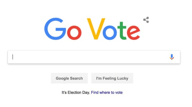 A screenshot of the Google homepage encouraging users in the U.S. to 'Go Vote.'