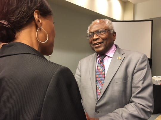 Rep. James Clyburn, D-S.C., talked to audience members Sept. 14, 2018 after a panel on environmental justice at the Congressional Black Caucus Foundation's legislative conference in Washington, D.C.  Clyburn has been campaigning across the country for Democratic candidates.