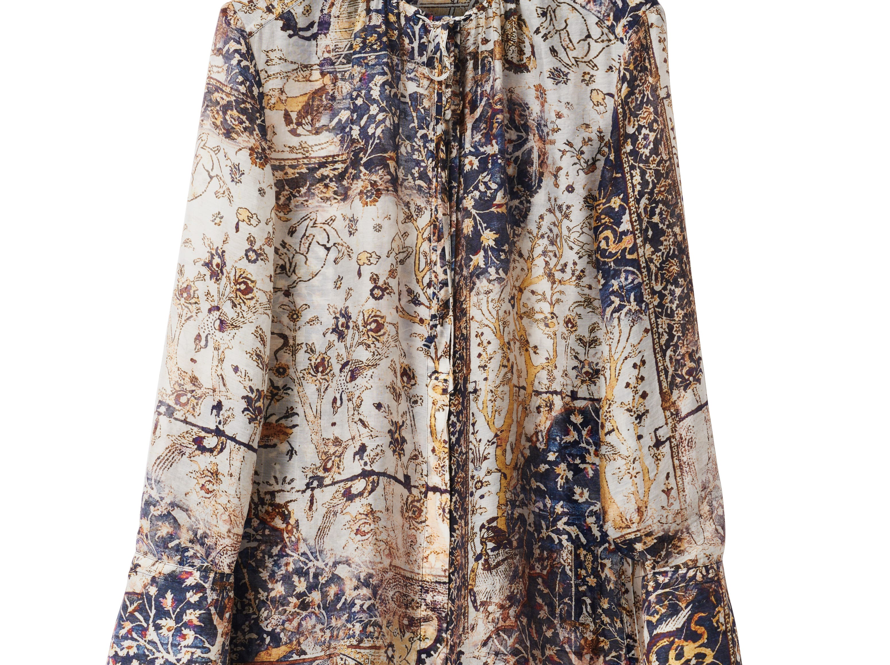 Tencel, a cellulosic fiber obtained from wood pulp using recyclable solvents, is another sustainable fabric that H&M is using in its Conscious Exclusive collection for autumn and winter. Here, a tencel blouse priced at $79.99