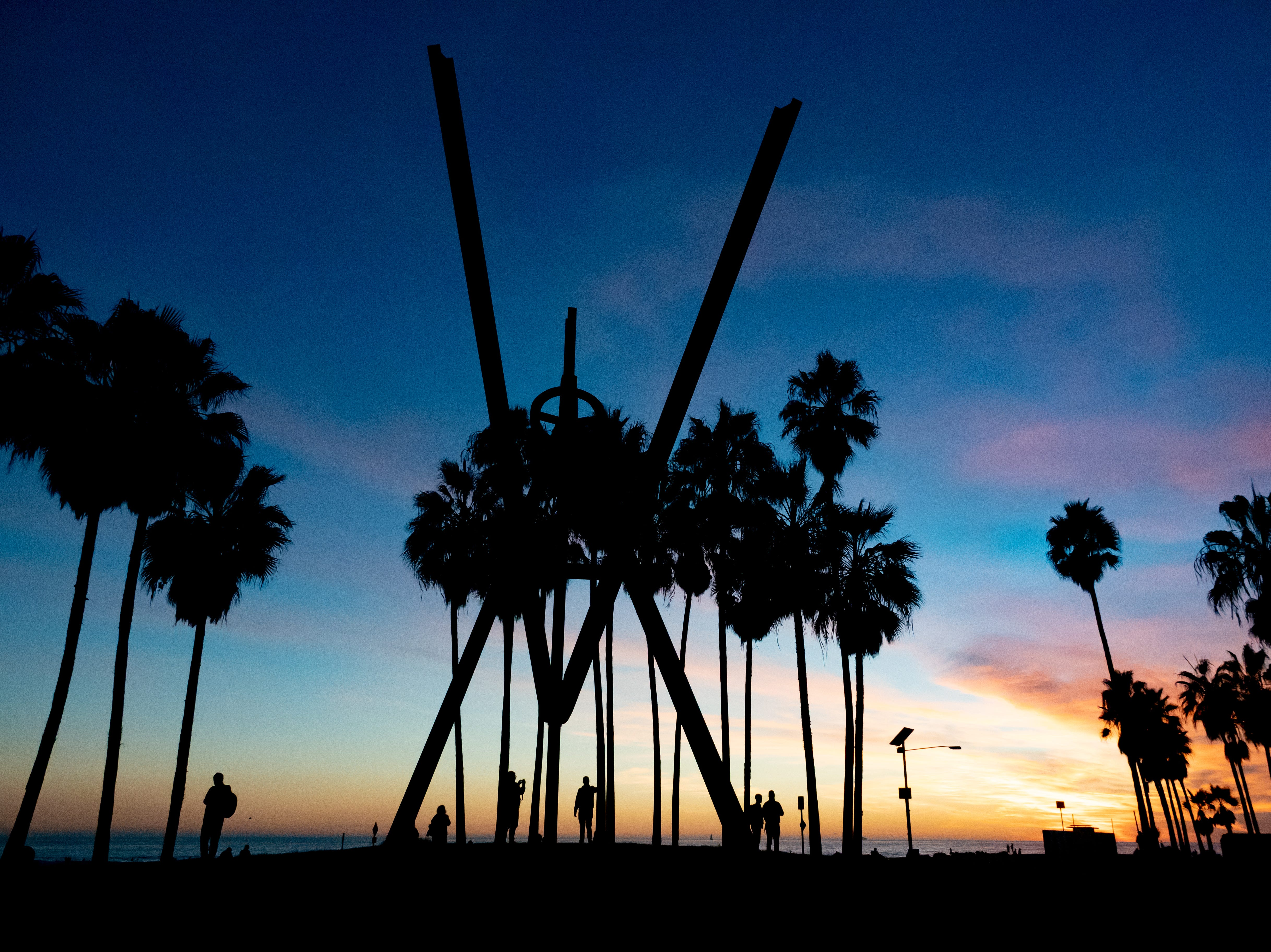 The V for Venice sculpture in Venice Beach.