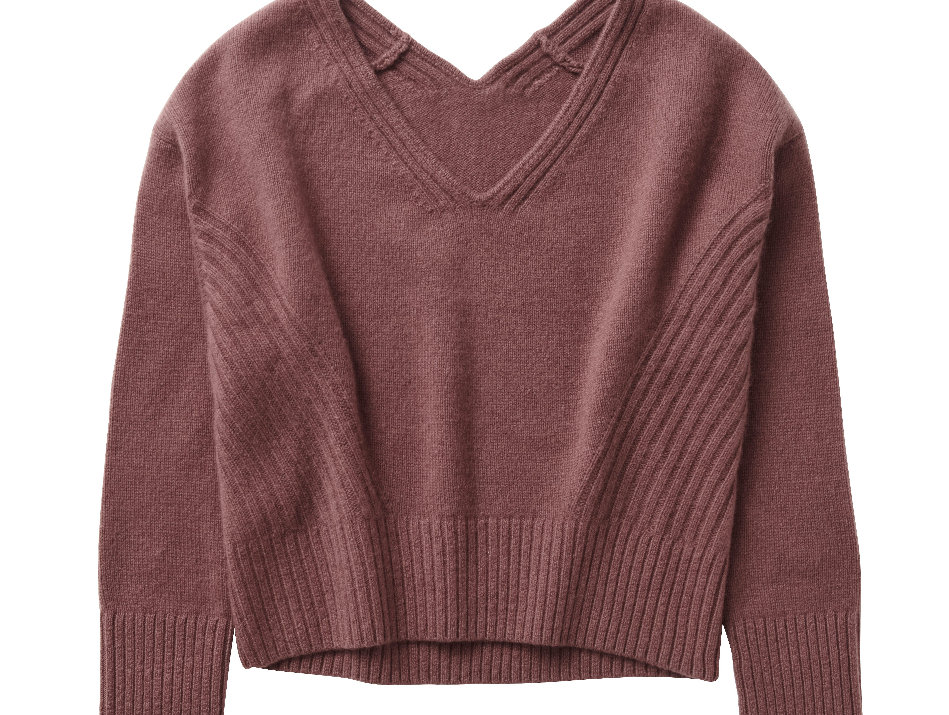 Also new in H&M's Conscious Exclusive collection for autumn and winter is clothing made from recycled cashmere. Here, a recycled cashmere sweater priced at $59.99.