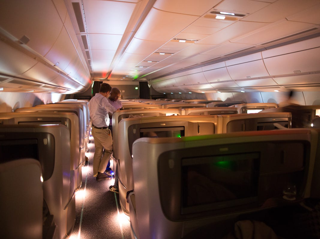 A quiet business-class cabin aboard the world's longest flight, Singapore Airlines Flight 21, between Newark and Singapore on Oct. 12, 2018.