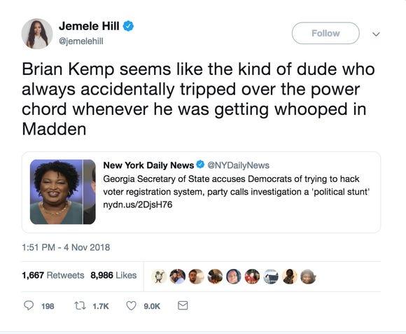 A tweet from @jemelehill.