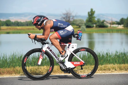 Retired Marine Mike Mendoza signed up for the Chicago Triathlon in 2015 at the urging of a friend and in 2017, completed 24 Ironman 70.3 triathlons.
