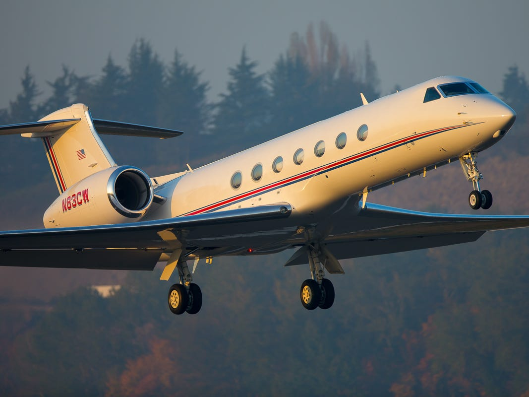 A Gulfstream business jet takes off from Seattle's Boeing Field in October 2018.