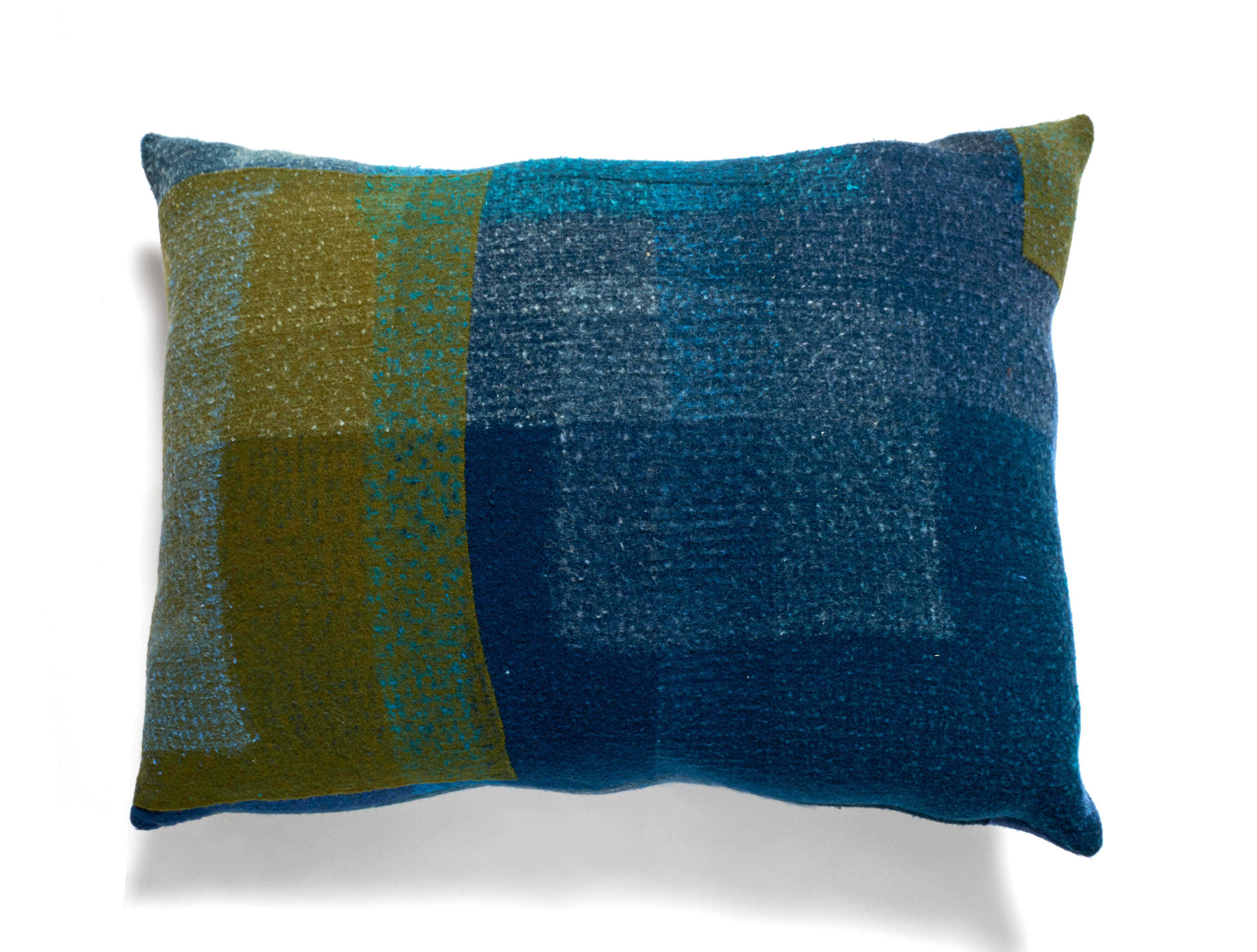 Eileen Fisher also has begun an initiative called DesignWork in which it partners with makers who felt and stitch decorative pillows, wall hangings and other items from used garments that consumers have returned to the company as part of its take back program. The program was created to transform and up cycle unwanted clothing into new creations. Pillow prices range from $250 to $325.