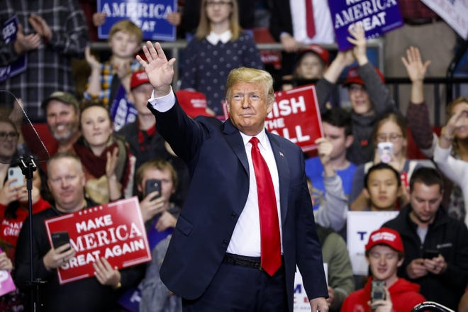 President Trump arrives for a campaign rally at the County War Memorial Coliseum Nov. 5, 2018, in Fort Wayne, Ind.