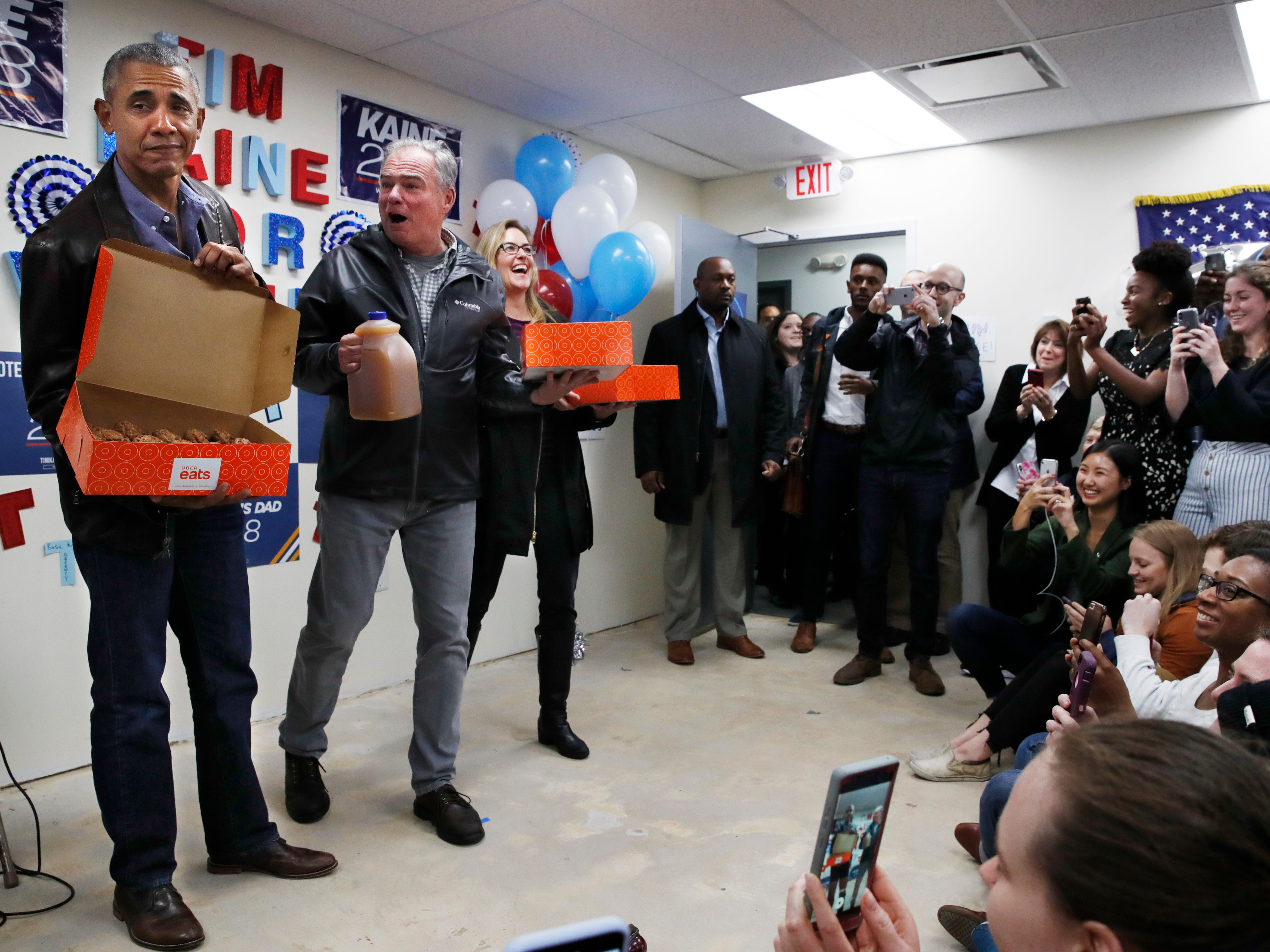 Obama surprises Democratic campaign workers in Virginia with doughnuts