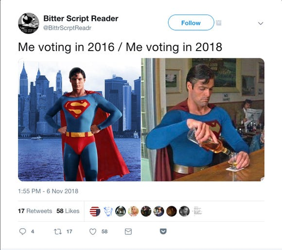 A screenshot of a tweet using the meme 'Me Voting in 2016 versus Me Voting in 2018.'